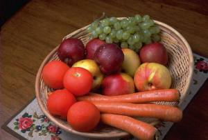 carrot apple grape in basket