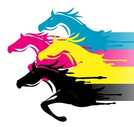 horse racing track cartoon imagery